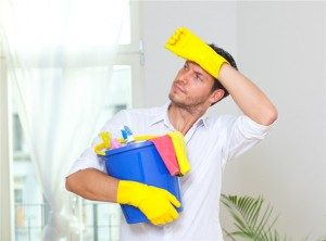 man cleaning
