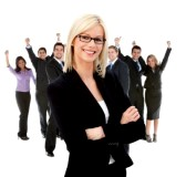 10514706-business-woman-leading-a-successful-corporate-group-isolated