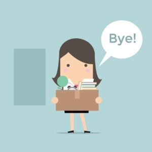 53893209 - businesswoman leaving job vector