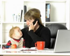 working from home mum child