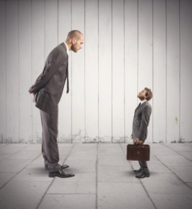 22793975 - concept of business competition with big and small businessmen correct your boss